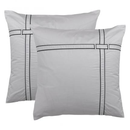 Lot de 2 taies d'oreiller carrées satin de coton unies à bandes noires Couture