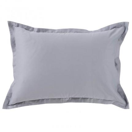 Taie d'oreiller rectangulaire satin de coton Maestro gris