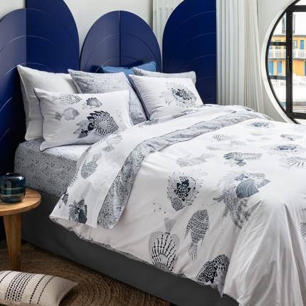 Parure de lit percale de coton Mahoa bord de mer