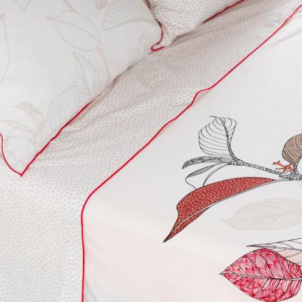 Drap de lit percale de coton imprimé feuillage ethnique Malawi
