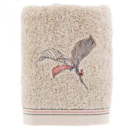 Serviette de toilette bouclette de coton brodée Malawi grège