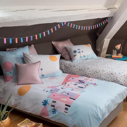 Parure de lit enfant pur coton imprimée paysage graphique Manarola