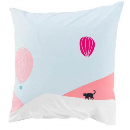 Taie d'oreiller carrée pur coton imprimée paysage graphique Manarola
