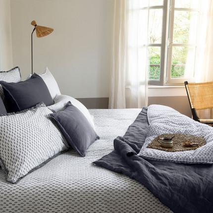 Parure de lit percale de coton imprimée graphique Maripa bohème