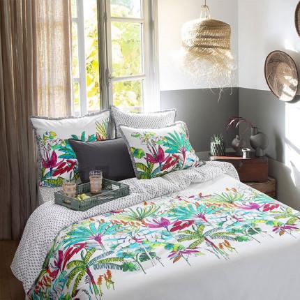 Parure de lit percale de coton imprimée tropical Maripa exotique