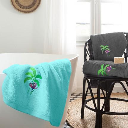 Parure de bain coton brodée tropical Maripa