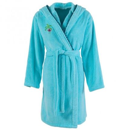 Peignoir femme coton moelleux à capuche brodé Maripa lagon