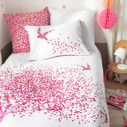 Parure de lit percale de coton imprimée cœurs Mon cœur enfant