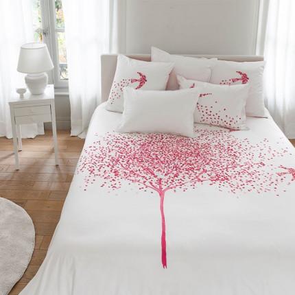 Parure de lit percale de coton imprimée cœurs Mon cœur classique chic