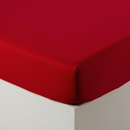 Drap housse percale de coton Neo rouge