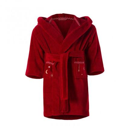 Peignoir enfant coton à capuche brodé Nael rouge