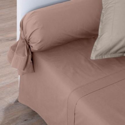 Drap de lit percale de coton Neo taupe