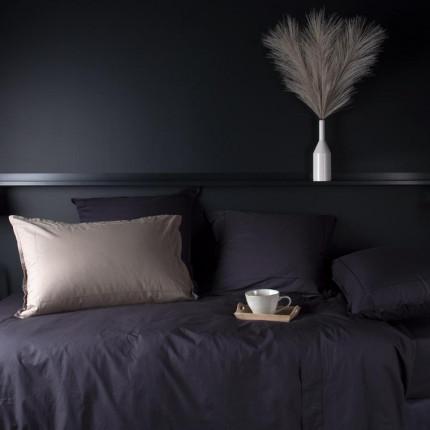 Parure de lit en percale de coton Neo anthracite