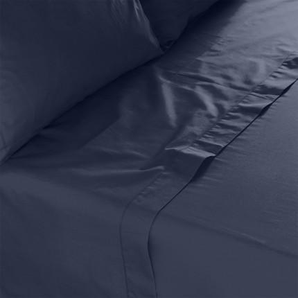 Drap de lit percale de coton Neo marine
