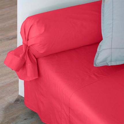 Drap de lit percale de coton Neo framboise