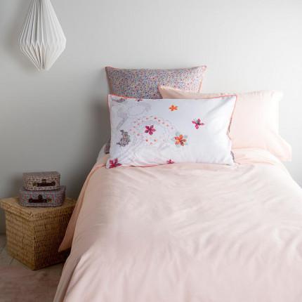 Parure de lit enfant percale de coton Neo pêche