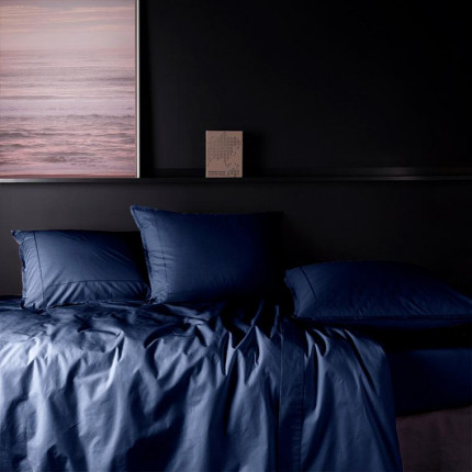 Parure de lit en percale de coton Neo marine
