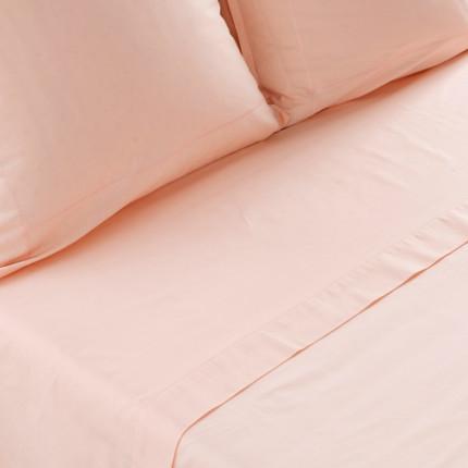 Drap de lit percale de coton Neo pêche