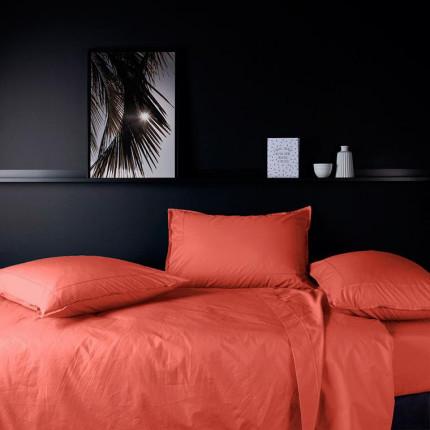 Parure de lit en percale de coton Neo safran