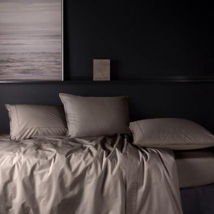 Parure de lit en percale de coton Neo taupe