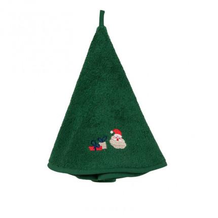 Essuie-mains rond bouclette de coton brodé Père Noël Noé vert