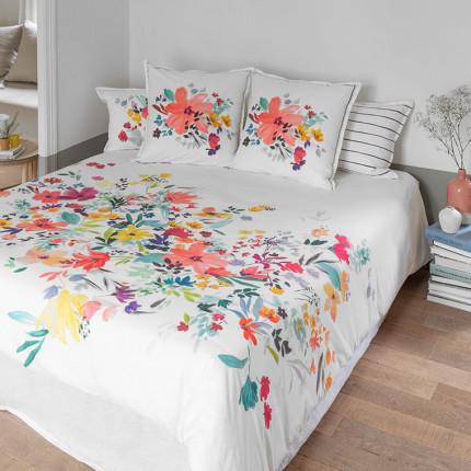 Parure de lit percale de coton imprimée fleurs Ode classique chic