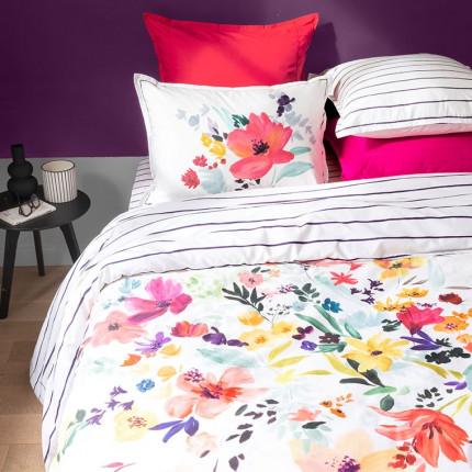 Parure de lit percale de coton imprimée fleurs Ode urbain