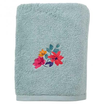 Drap de bain coton brodé fleurs Ode amande