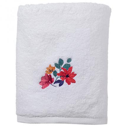 Drap de bain coton brodé fleurs Ode blanc