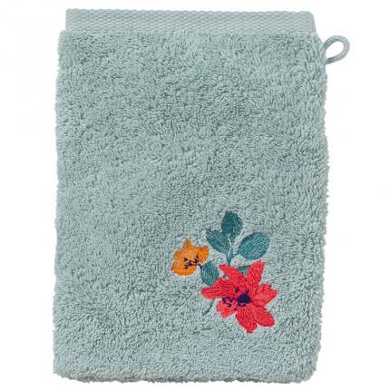 Gant de toilette coton brodé fleurs Ode amande