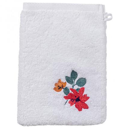 Gant de toilette coton brodé fleurs Ode blanc