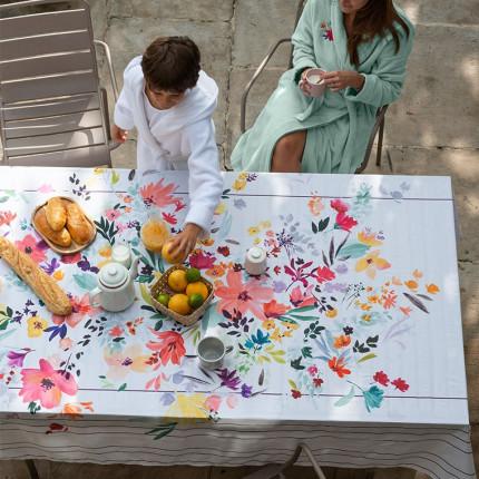 Nappe coton imprimée fleurs Ode blanc