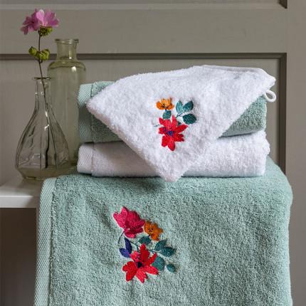 Parure de bain coton brodée fleurs Ode