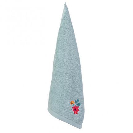 Serviette invité coton brodée fleurs Ode amande