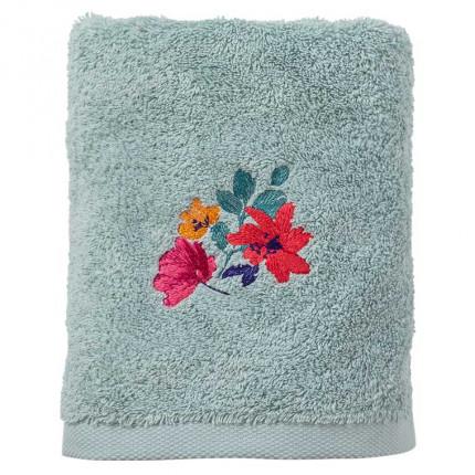 Serviette de toilette coton brodée fleurs Ode amande