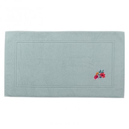 Tapis de bain coton brodé fleurs Ode amande