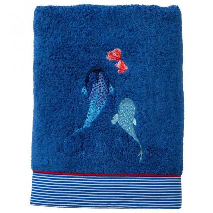 Serviette de toilette coton biologique brodée poissons Odyssée marine