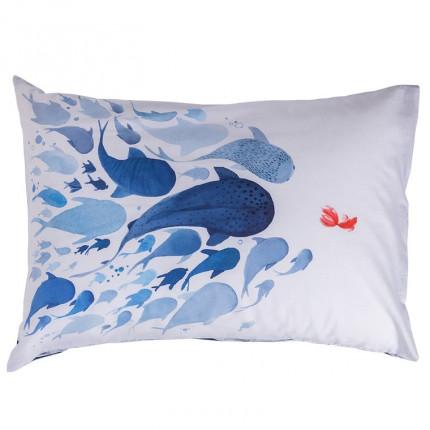 Taie d'oreiller rectangulaire pur coton biologique imprimée poissons Odyssée