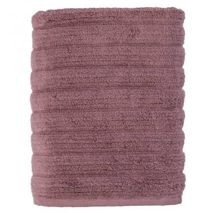 Drap de bain bouclette de coton moelleux uni en relief Okumi mauve