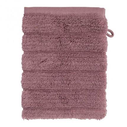 Gant de toilette bouclette de coton moelleux uni en relief Okumi mauve