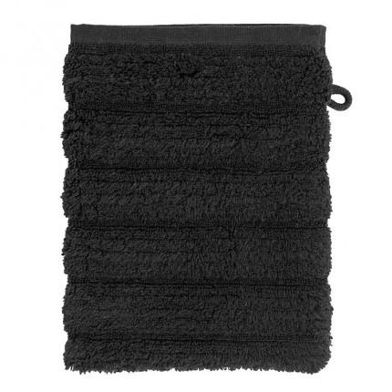Gant de toilette bouclette de coton moelleux uni en relief Okumi noir