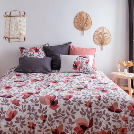 Parure de lit percale de coton imprimé floral japonisant Okumi bohème