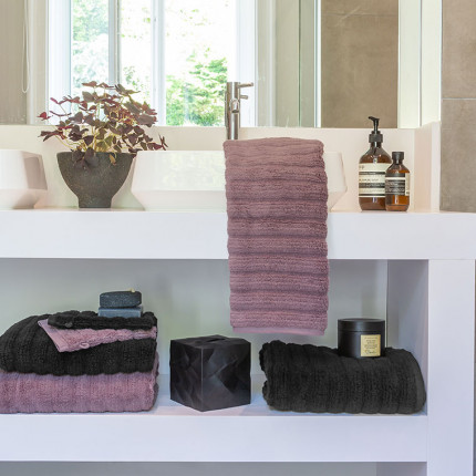Parure de bain bouclette de coton moelleux unie en relief Okumi