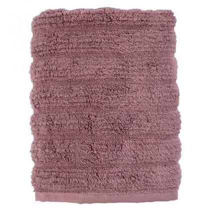 Serviette de toilette bouclette de coton moelleux unie en relief Okumi mauve