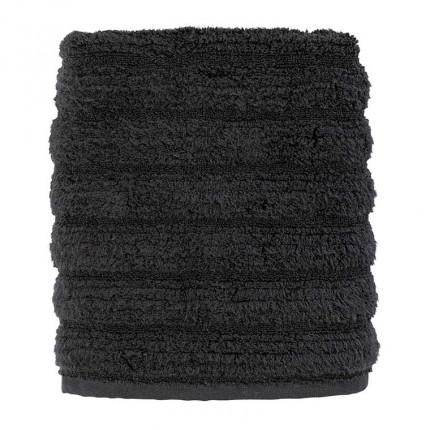Serviette de toilette bouclette de coton moelleux unie en relief Okumi noir