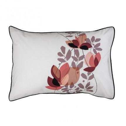 Taie d'oreiller rectangulaire percale de coton imprimée floral japonisant Okumi