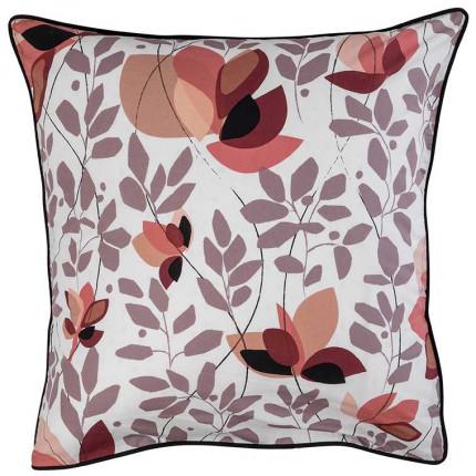 Taie d'oreiller carrée percale de coton imprimée floral japonisant Okumi