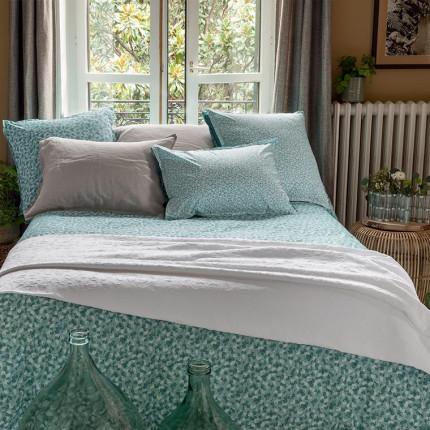 Parure de lit percale de coton imprimée liberty fleurs Ondine classique chic maison de campagne