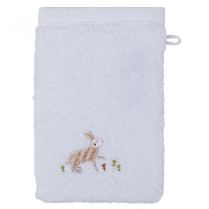 Gant de toilette bouclette de coton biologique broderie lapin et renard Orée blanc