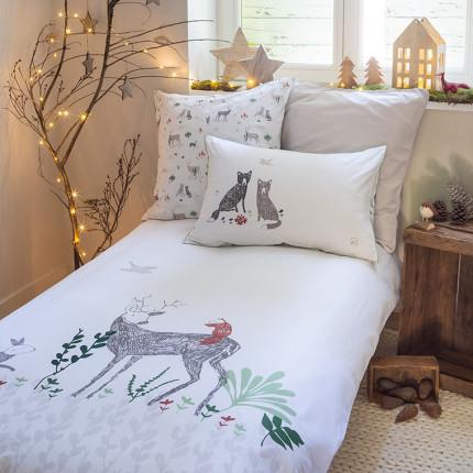 Parure de lit  pur coton biologique imprimée animaux de la forêt Orée